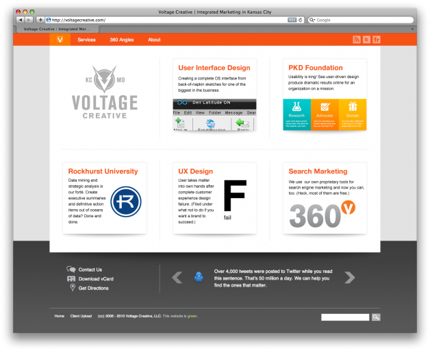 Voltage Creative Home Page Screenshot