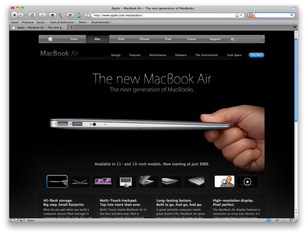 Macbook Air Product Page Design - Above The Fold