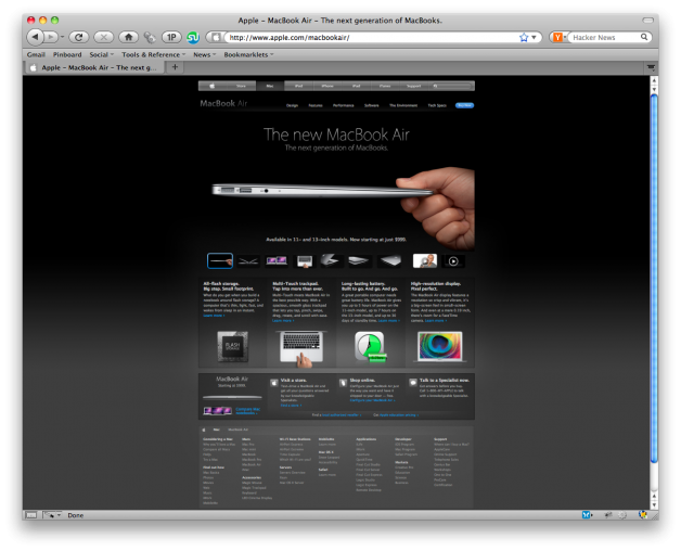 Apple Macbook Air Product Page Design - 10 Foot Test