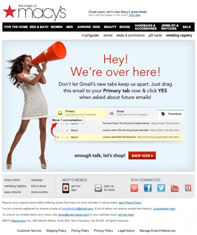 gmail changes macy's email
