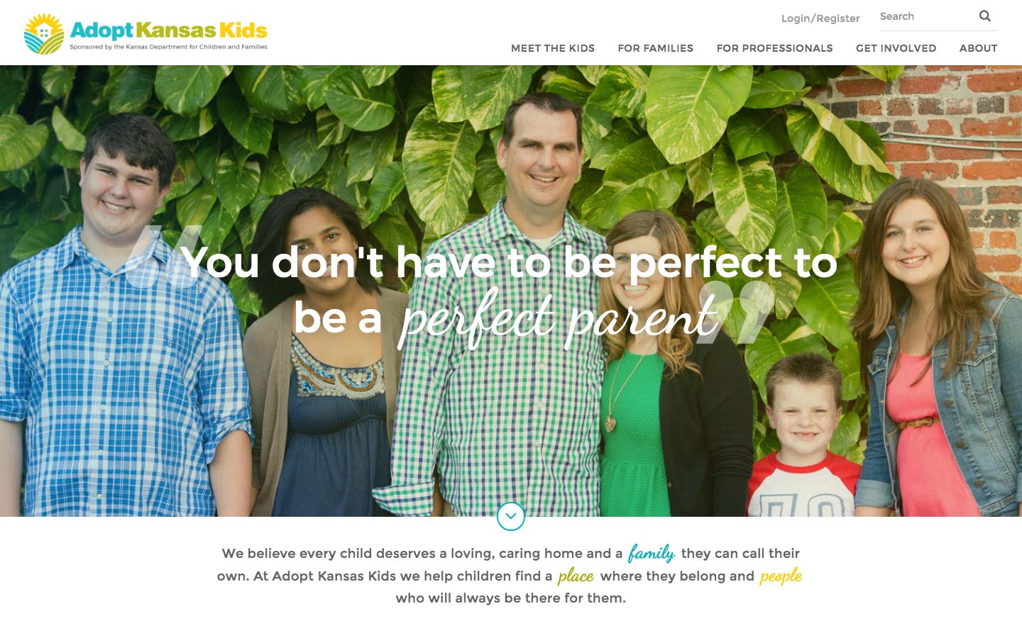 Adopt Kansas Kids website screenshot