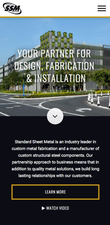 Standard Sheet Metal website screenshot