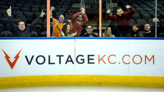 Voltage team cheering at Kansas City Mavericks