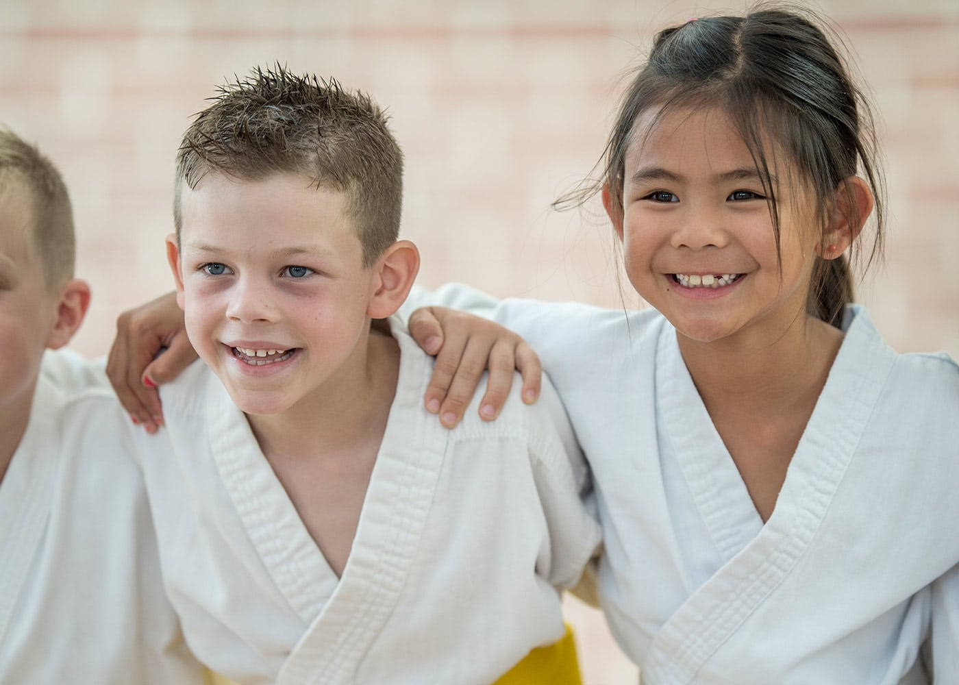 Two children at martial arts practice
