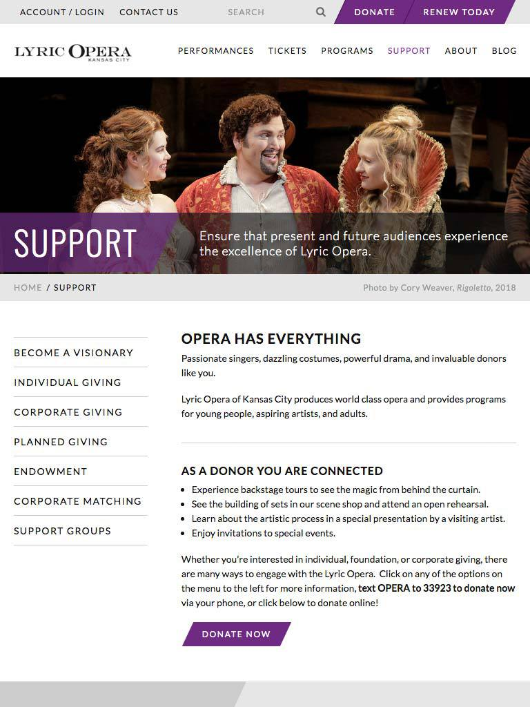 Lyric Opera website screenshot