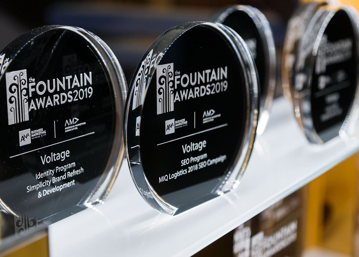 Voltage's 2019 Fountain Awards trophies