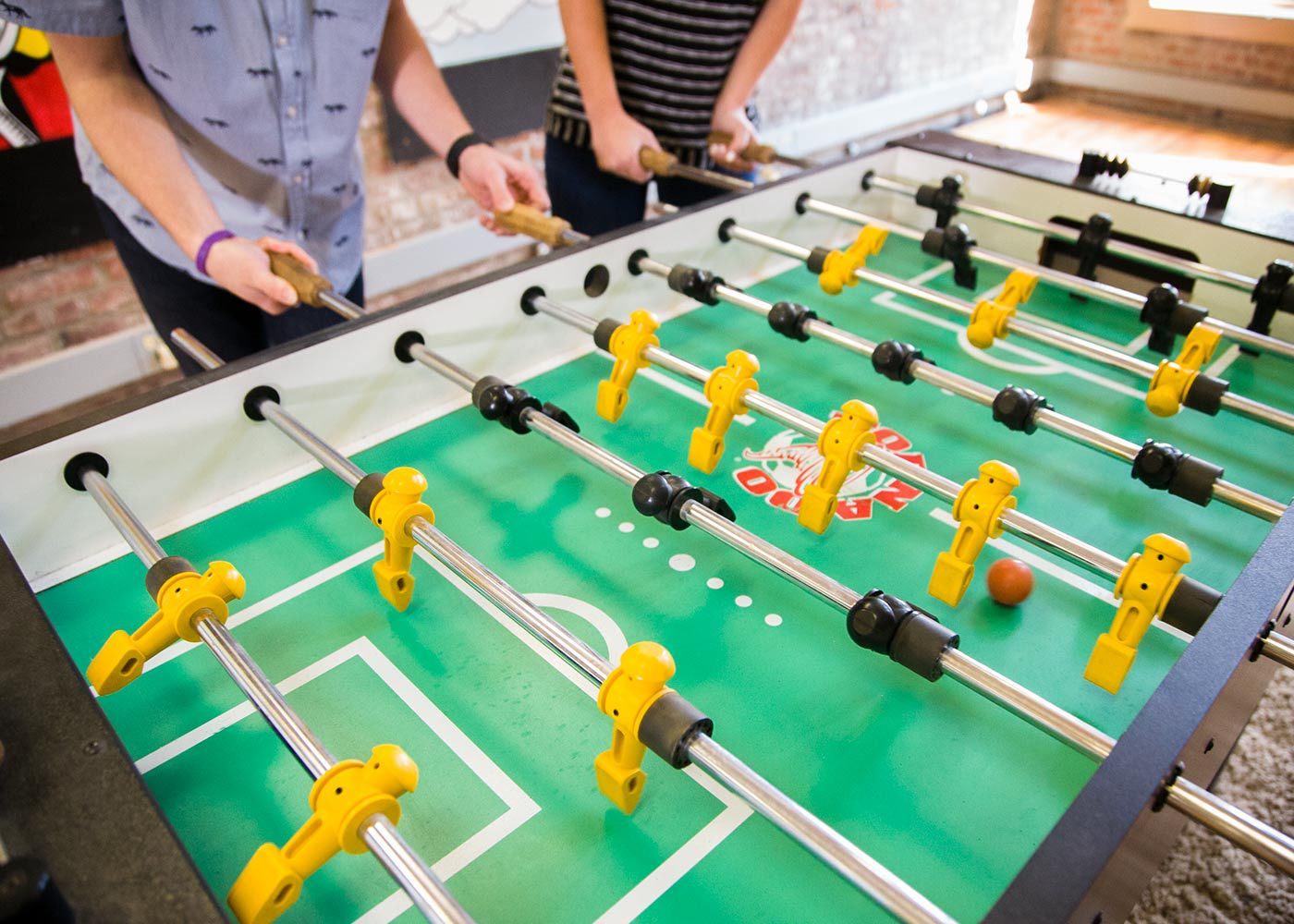 Playing foosball upstairs
