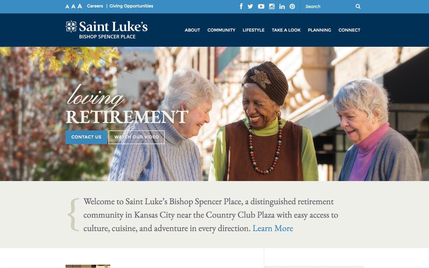 Bishop Spencer Place website screenshot