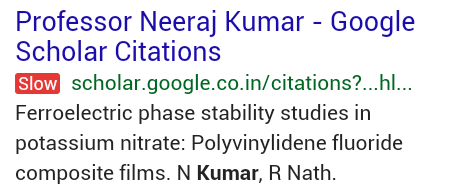 google serp result with 'slow' indicator
